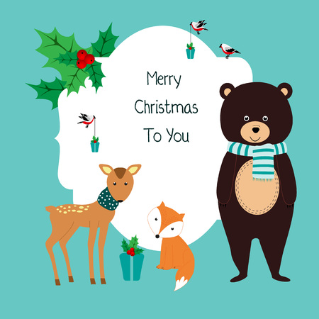 Christmas card with bear, fox roe and birds