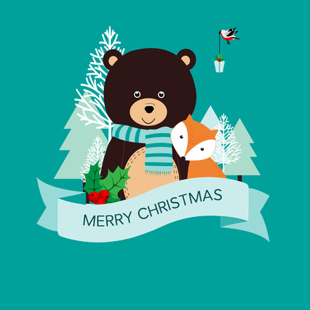 Christmas card with bear, fox and bird