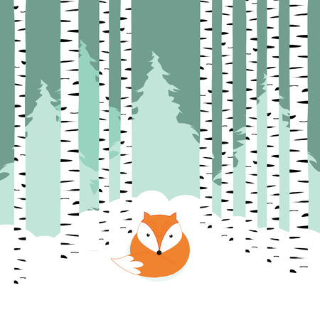 Winter card with cute and alone fox