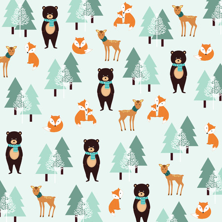 Cute Christmas pattern with bear, fox and roe
