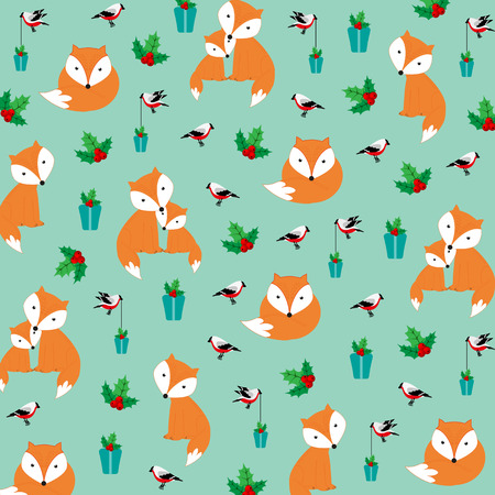 Cute Christmas pattern with foxes and birds Illustration