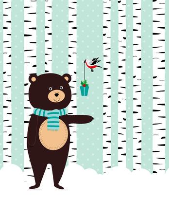 osos navideños: Tarjeta de invierno con el oso lindo y aves