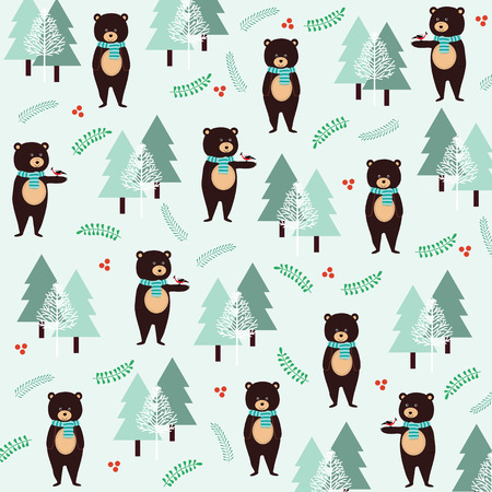 Cute Christmas pattern with bears and birds