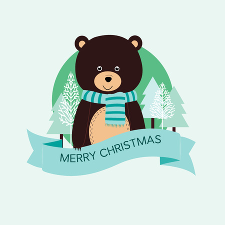 x mas: Cute Christmas card with brown bear Illustration
