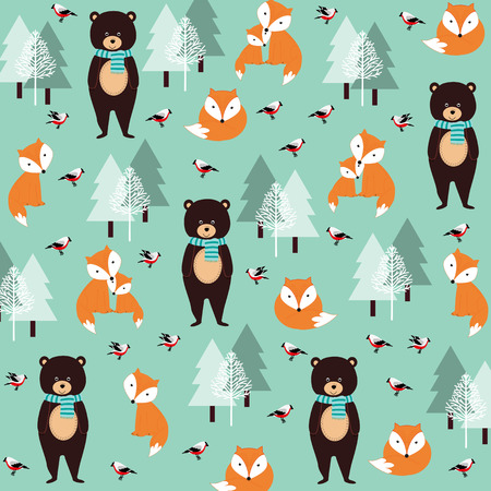 retro christmas: Cute Christmas pattern with foxes, bears and birds