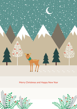 Winter card with alone reindeer on the way Illustration