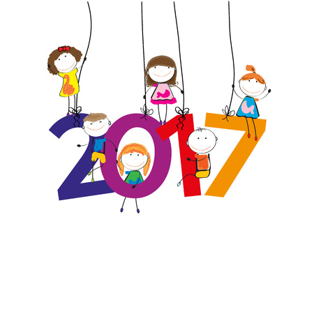 Colorful card for New Year 2017 with happy kids Illustration