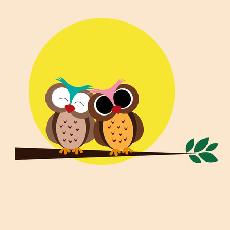 Cute and happy owls on the branch