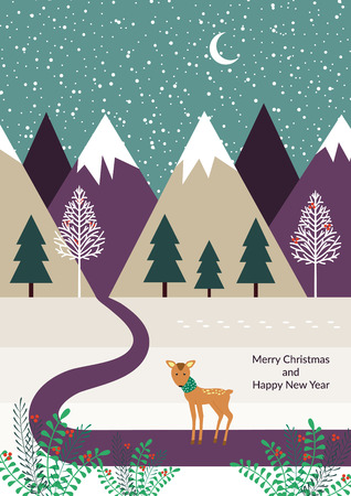 winter card with reindeer along on the way Illustration