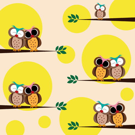 Happy owls on the branch - pattern