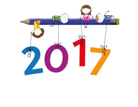 simplicidad: tarjeta de colorido para el año nuevo 2017 feliz con los niños Vectores