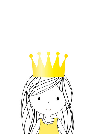 Lovely little princess with gold crown. Illustration