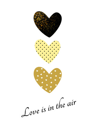 Valentines day glitter card with gold and black colors Illustration