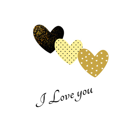 Valentines day glitter card ingold and black colors