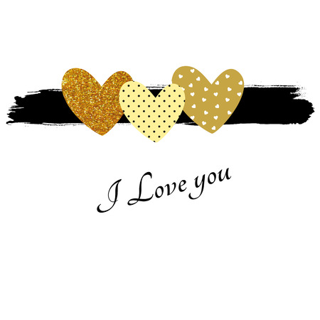 Valentines glitter card in black and gold colors Illustration
