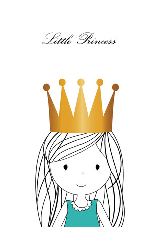 Lovely little princess with gold crown Illustration