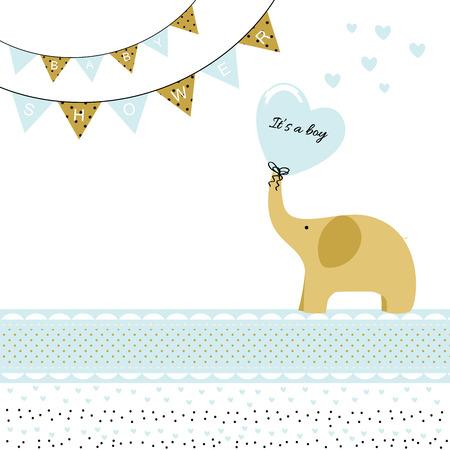 Baby boy shower card with elephant Illustration