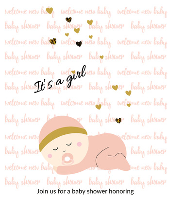 cute baby girl: Cute  baby shower card with the baby girl Illustration