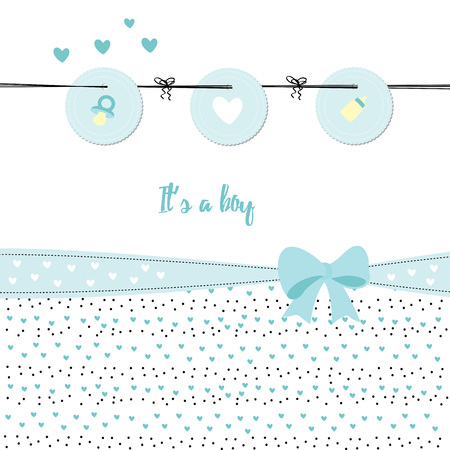 festive occasions: Baby shower card with hearts and ribbons
