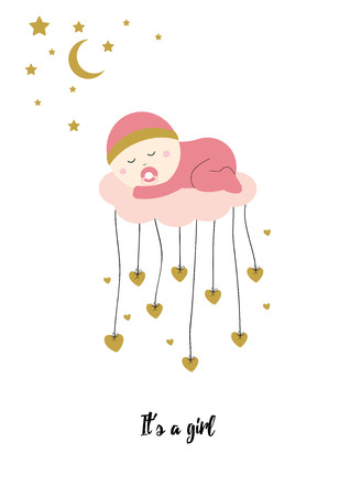 cute baby girl: Cute baby shower card with sweet baby girl Illustration