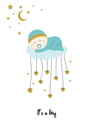 Baby shower card with sweet baby boy Illustration