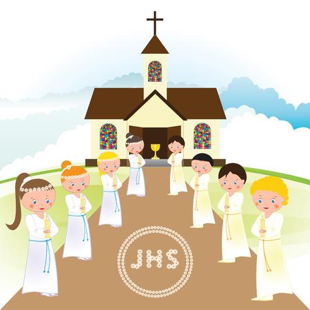 primera comunion: Mi primera comunión - los niños y niñas en frente de la iglesia Vectores