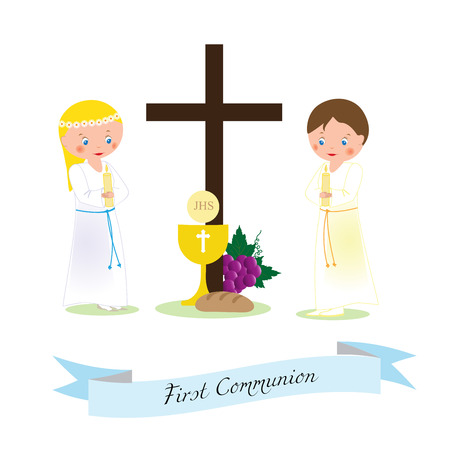 My first communion - girl and boy with a white ropes