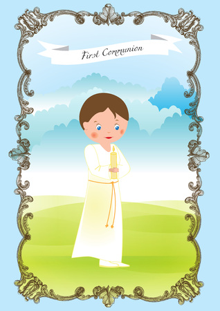 My first communion - boy in a white rope