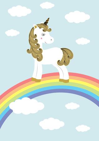 Vector illustration of cute magic unicorn