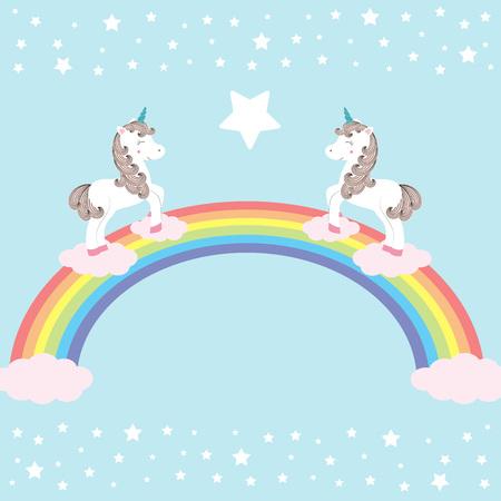 Vector illustration of cute magic unicorns