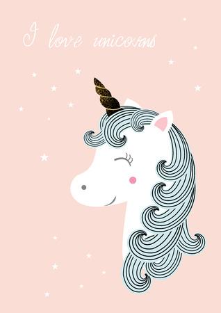 Vector illustration of cute magic unicor