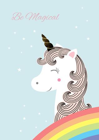 character cartoon: Vector illustration of cute magic unicorn