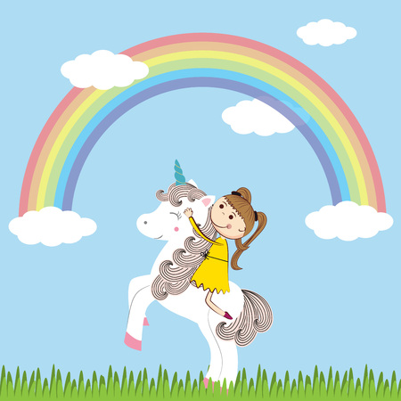 small girl: Small girl and her sweet unicorn Illustration