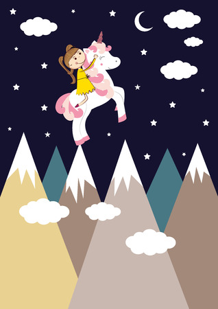 Small girl and her sweet unicorn. Illustration