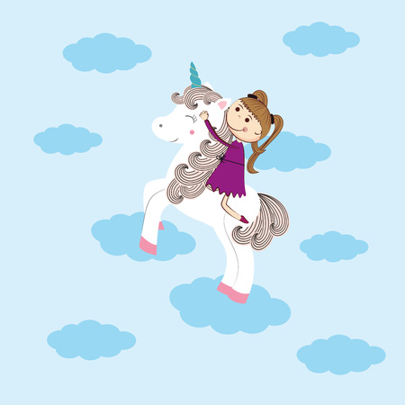 Small girl and her sweet unicorn Illustration