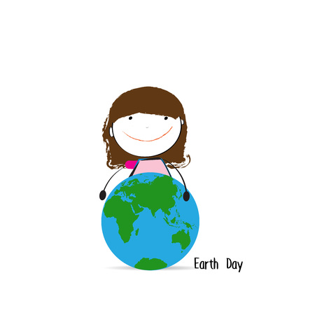 earth day: Happy and cute girl with globe, abstract drawing Illustration