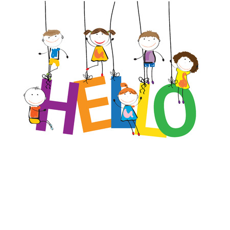 healthy kid: Boys and girls with the word hello