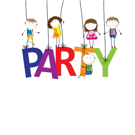 Boys and girls with the word party Illustration