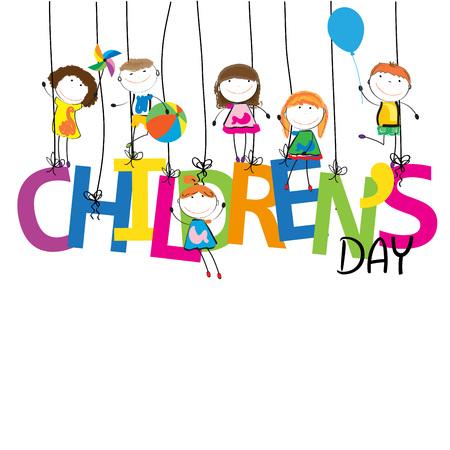 escuela infantil: Niños y niñas con la palabra niños Vectores