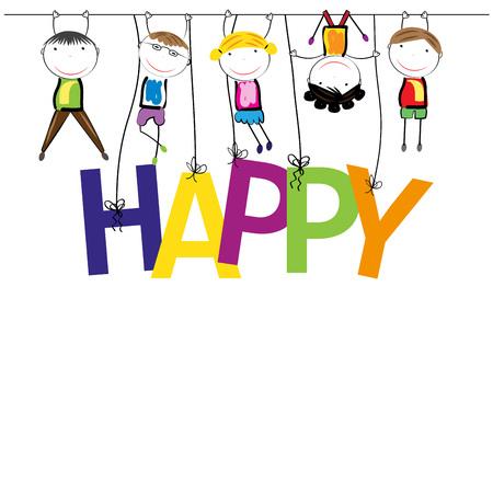 Jungen und Mädchen mit dem Wort glücklich