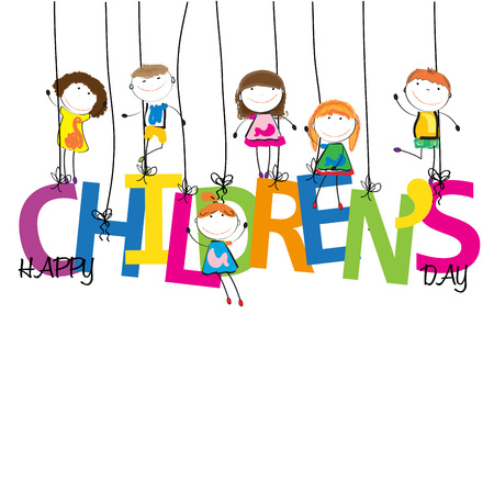 Happy boys and girls with the word children's day