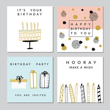 Gelukkige verjaardagsfeestkaarten set. Vector hand getekende illustratie.
