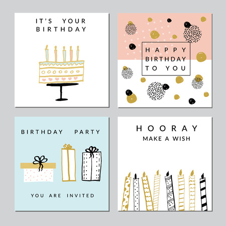 Happy Birthday Party cards set. Vector hand drawn illustration. Vettoriali