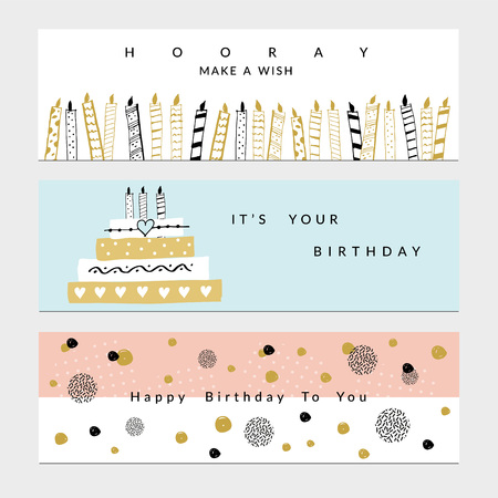 Happy Birthday Party banners set. Vector hand drawn illustration.  イラスト・ベクター素材