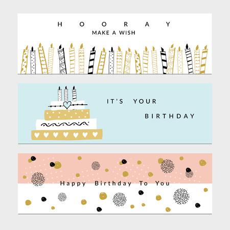 Happy Birthday Party banners set. Vector hand drawn illustration. Illustration