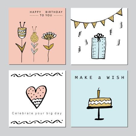 Felices tarjetas de la fiesta de cumpleaños conjunto. vector dibujado a mano ilustración.