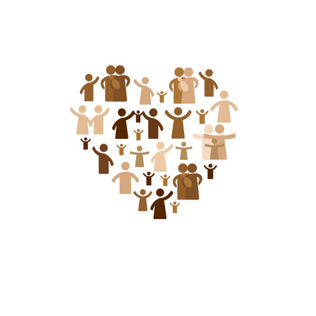 Community concept - pictogram showing figures happy family