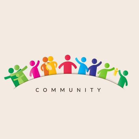 Gemeinschaftskonzept - Piktogramm zeigt Figuren, glückliche Familie