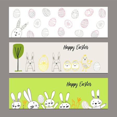 hand illustration: Cute banners with hand drawn easter illustrations