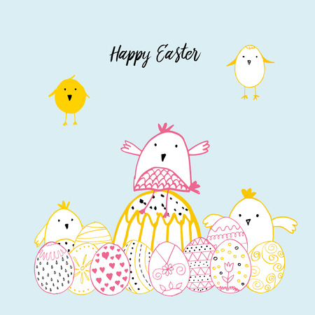 hand illustration: Cute card with hand drawn easter illustrations